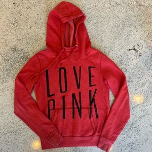Victoria Secret Love Pink Red Hoodie Sweatshirt